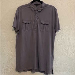 John Varvatos Light Purple Short Sleeve Polo Large